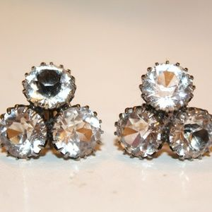 ATQ ART DECO Rock Crystal Sterling Earrings FB